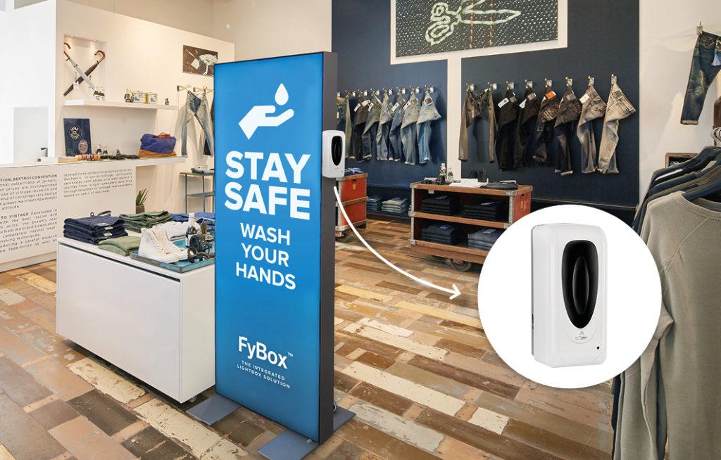FyBox Care - panneau lumineux avec support pour gel hydroalcoolique
