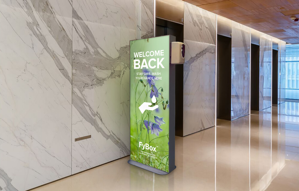 FYBOX care - lightbox with a disinfectant gel dispenser to place in a lobby
