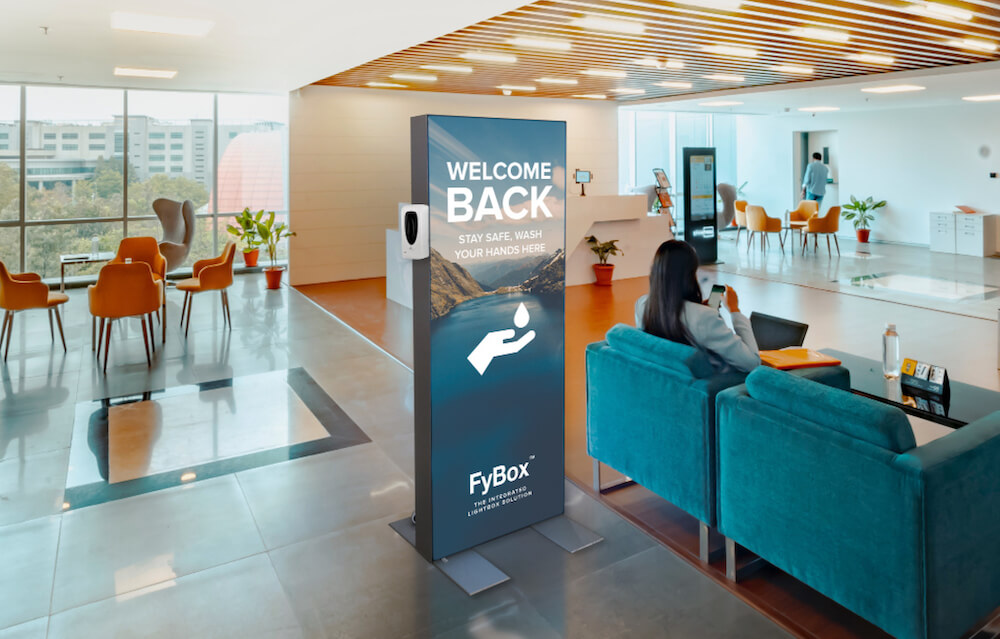 FYBOX care - lightbox with a disinfectant gel dispenser to place in your company